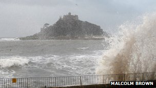 Huge waves at Marazion beach