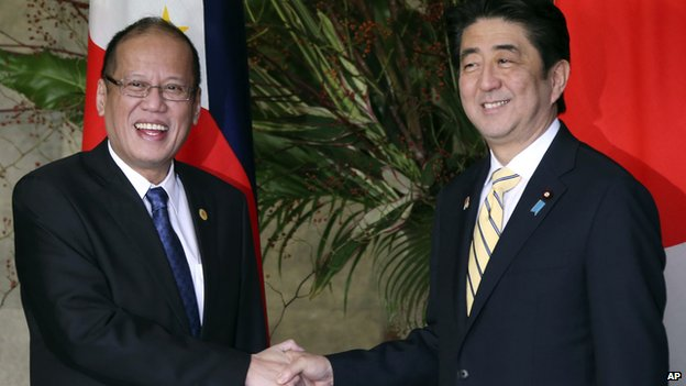 Japanese Prime Minister Shinzo Abe and Philippine President