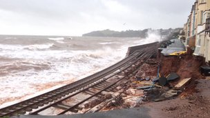 The railway line at Dawlish