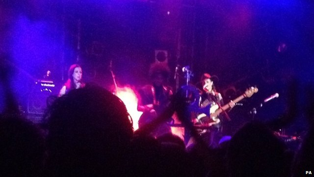 US singer Prince on stage at the Electric Ballroom in Camden, north London for a secret gig.