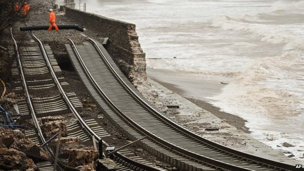 Damage to the railway line at Dawlish