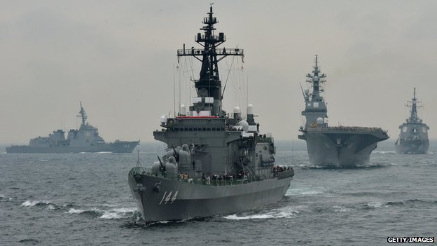 Japanese Maritime Self-Defence Force escort ships taking part in a fleet review off Sagami Bay, near Tokyo in October 2012