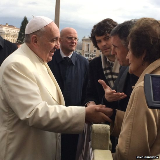 Pope Francis meets actor Steve Coogan and campaigner Philomena Lee