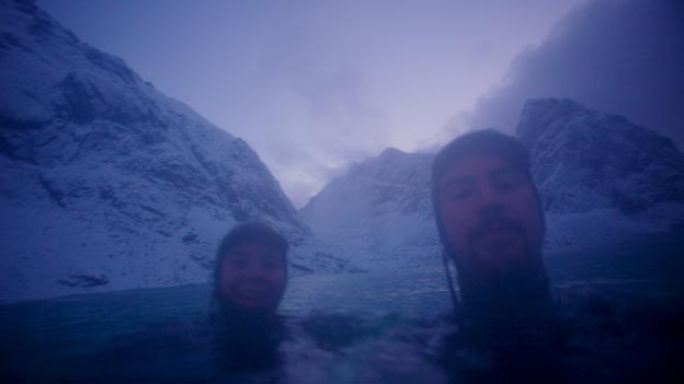 Arctic surfers Inge Wegge and Jorn Ranum