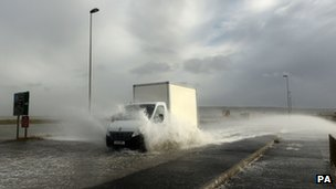 A flooded road near Weymouth, Dorset