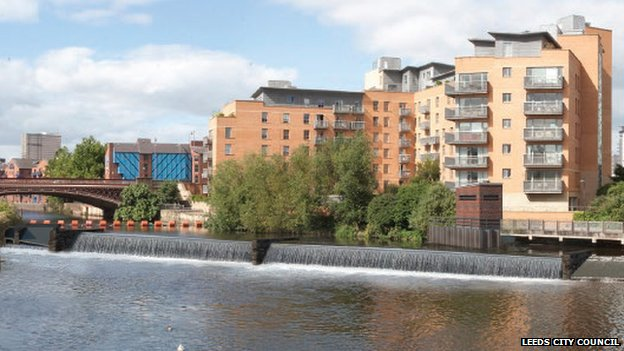 Visualisation of moveable weir at Crown Point in Leeds