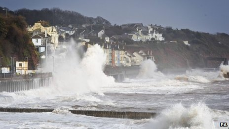 A wave hitting the sea wall in Dawlish