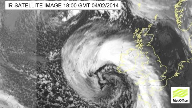 Met Office satellite image of storm forming off UK