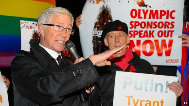 Paul O'Grady and Peter Tatchell at a demonstration outside Downing Street, in Westminster, central London, calling for corporate sponsors of the Sochi Winter Olympic games to speak out against Russia's anti-gay laws on 5 February 2014.