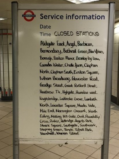 A board at Bank Station
