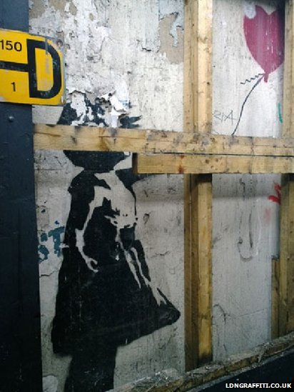 London banksy girl and balloon mural to be removed bbc news for Banksy mural sold