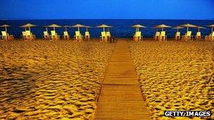 A beach at night