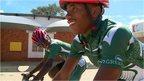 Namibian road cyclists Jojoe Hamunyela and Fiffy Kashululu
