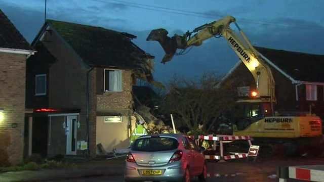 Demolition of gas explosion houses in Cloes Lane, Clacton