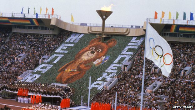 Olympic mascot Misha the bear at Lenin Stadium in July 1980