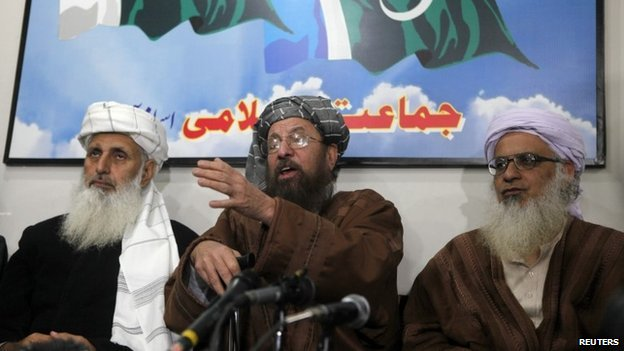 Pakistan Taliban negotiating team from left, Prof Ibrahim Khan, Maulana Sami-ul-Haq, and Maulana Abdul Aziz