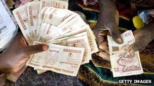 Zimbabwe dollar notes