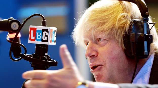 Boris Johnson at LBC studios
