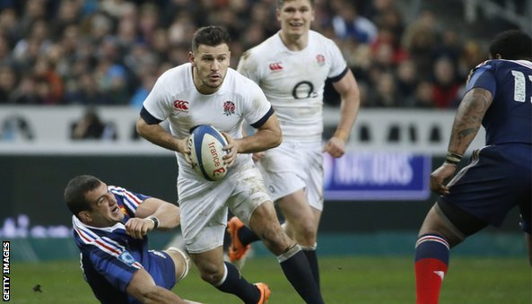 "France""s lock Yoann Maestri (L) falls next to England""s scrum-half Danny Care"