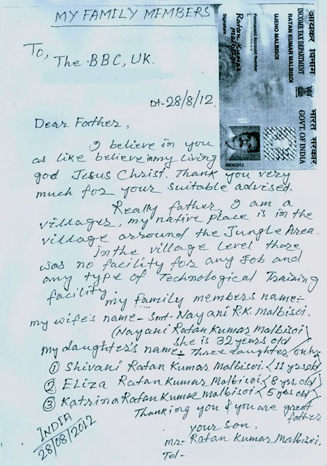Letter Malbisoi wrote to his scammers