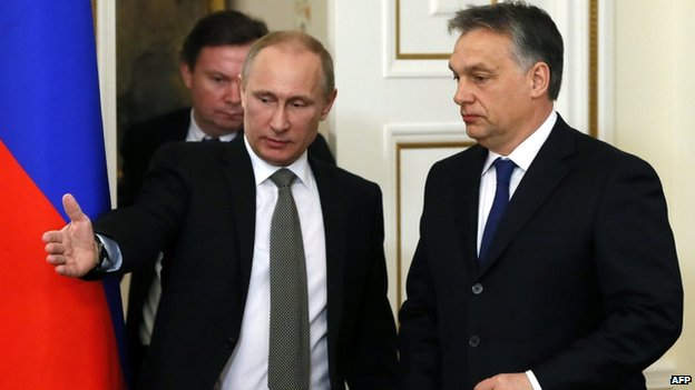 Russia's President Vladimir Putin (L) and Hungary's Prime Minister Viktor Orban (R) in Moscow in January