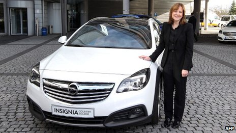 General Motors CEO, Mary Barra, at the company's German division, Opel