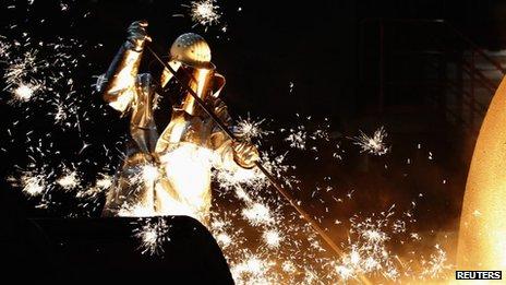 German steelmaker ThyssenKrupp controlling a blast furnace in Duisburg