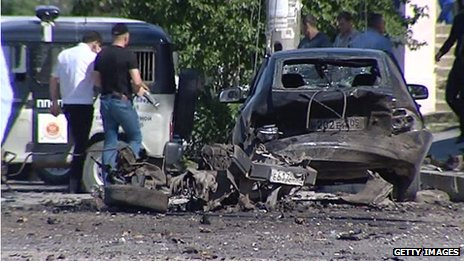 Car destroyed by bombs