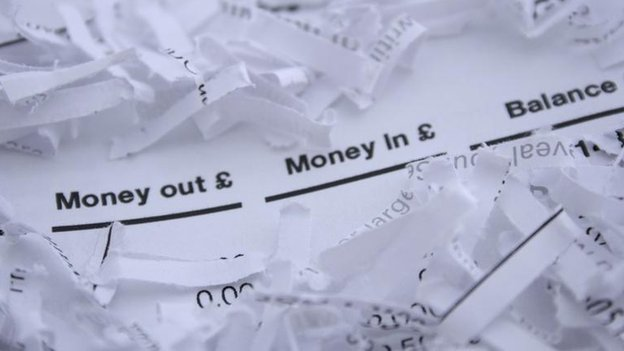Shredded bank statement