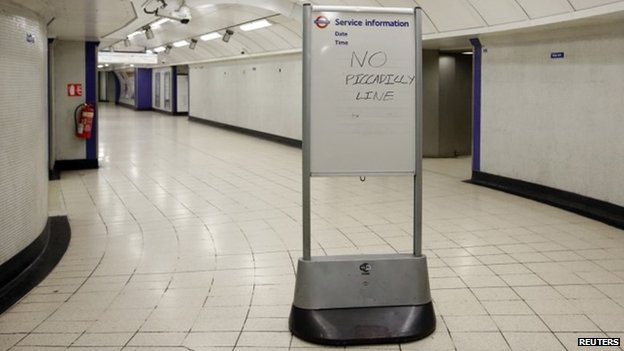 "A service information board states ""No Piccadilly Line"""
