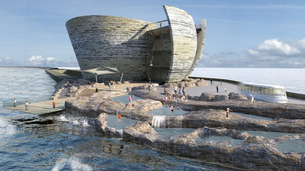 The oyster-shaped visitor centre would be self-sufficient, according to the developer