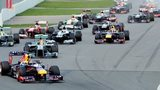 F1 cars during a grand prix
