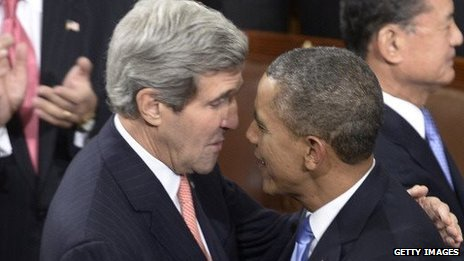 President Barack Obama and Secretary of State John Kerry talk before the State of the Union address on January 28, 2014.