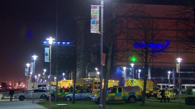 Emergency services outside Odyssey Arena