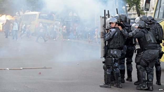 Riot police outside Rio's Central Station