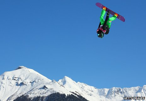 Seamus O'Connor of Ireland somersaults in the air during the Men's Slopestyle Qualification at the Sochi games