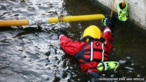 Shropshire firefighter training on the River Severn in Bridgnorth