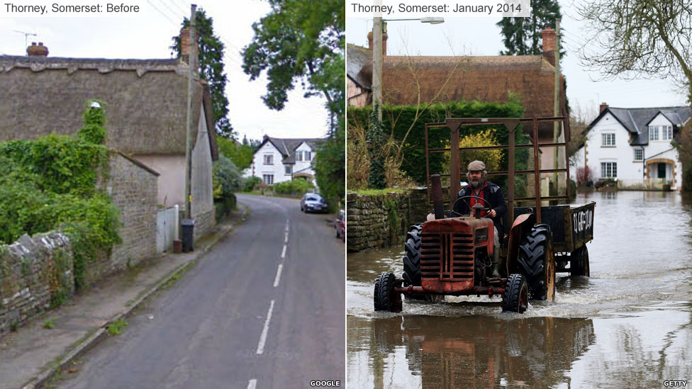 Thorney, Somerset, in the floods