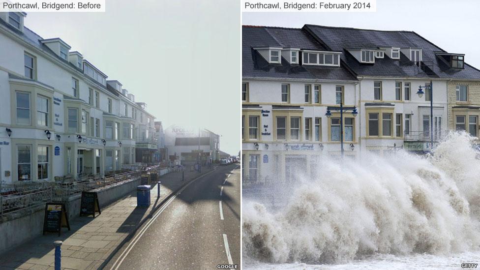 Porthcawl, Bridgend in the storms