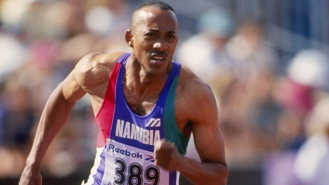 Frankie Fredericks during the 1994 Commonwealth Games 200m men's Final