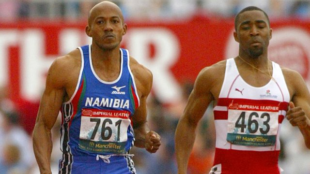 Frankie Fredericks and Darren Campbell competing in the  200m men's final at the Commonwealth Games in Manchester 2002.