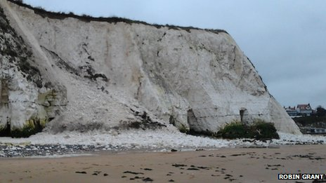 Rockfall at Dumpton Gap near Broadstairs
