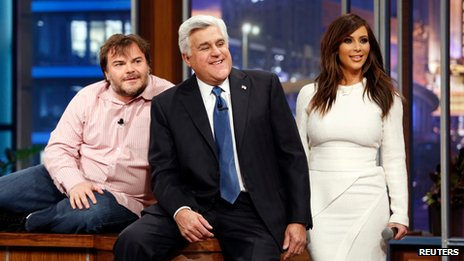 Jay Leno (centre) with Jack Black and Kim Kardashian