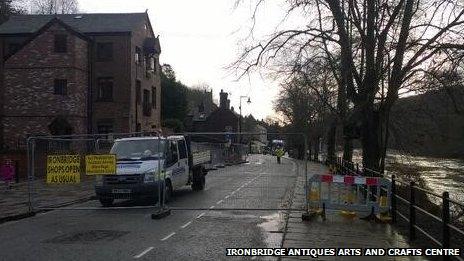 Ironbridge flood defences being put up