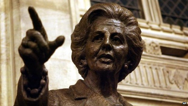 Bronze statue of Margaret Thatcher in the House of Commons