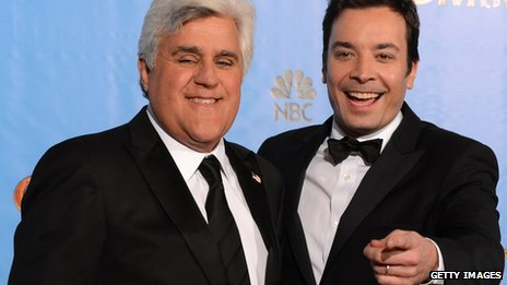 Jay Leno with Jimmy Fallon