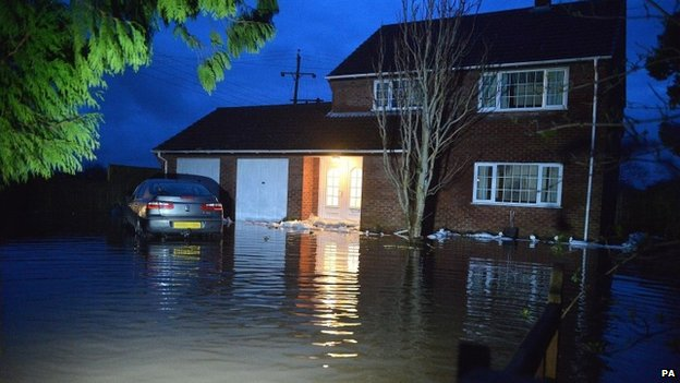 Flooded property in the village of Moorland, Somerset.