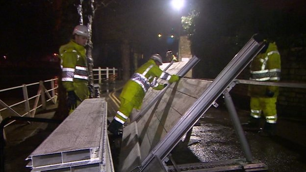 Flood barrier in Bradford-on-Avon