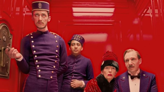 Paul Schlase, Tony Revelori, Tilda Swinton and Ralph Fiennes in The Grand Budapest Hotel