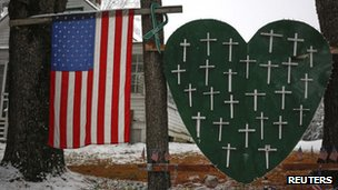 A memorial for the victims killed in the Sandy Hook Elementary School shooting